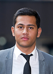 © London News Pictures. 18/02/2013 . London, UK.  Jakir Uddin leaving Southwark Crown Court on February 18, 2013 where he is one of two men accused of blackmailing Tamara Ecclestone, the daughter of Formula 1 Supremo, Bernie Ecclestone, for £200,000. Photo credit : Ben Cawthra/LNP