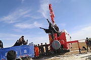 GOLOG, CHINA - NOVEMBER 14: (CHINA OUT) <br /> <br /> 22 Yaks Drop Into Frozen Lake found Dead <br /> <br /> Fire workers and the police salvage yaks dropped into a frozen lake when drinking by the lake in Maduo County on November 14, 2015 in Tibetan Autonomous Prefecture of Golog, Qinghai Province of China. 22 yaks reared by herdsman in northwest of Chinas Qinghai Province dropped into a frozen lake when drinking as the ice collapsed suddenly. The yaks were found dead after the fire workers of Maduo County rushing to for long distance of about 150 kilometers between the collapsing site and the central town. These yaks have been brought ashore two hours later.<br /> ©Exclusivepix Media
