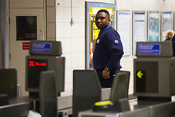 © licensed to London News Pictures. London, UK 28/04/2014. Tube staff finishing their shifts at Waterloo Station as a two day Tube strike by transport unions start on the evening of 28 April 2014. The strikes are being held because of an RMT dispute about closures and job losses due to proposed changes being made to underground services and ticket offices. Photo credit: Tolga Akmen/LNP