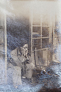 oxidizing photo with portrait of a thinking adult man Japan
