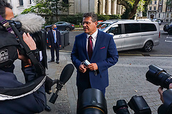 © Licensed to London News Pictures. 10/09/2020. European Commission vice president Maros Sefcovic speaks to journalists as he arrives at Europe House  in Central  London. Discussions held this week between British and EU negotiators to try and secure a Brexit deal before the upcoming October deadline. Photo credit: Ioannis Alexopoulos/LNP