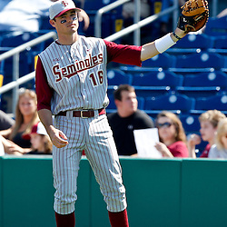 February 24, 2011; Clearwater, FL, USA; Florida State Seminoles first baseman Jayce Boyd (16) during a spring training exhibition game against the Philadelphia Phillies at Bright House Networks Field. Mandatory Credit: Derick E. Hingle