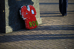 9 October 2017 -  2018 FIFA World Cup Qualifying (Group D) - Wales v Republic of Ireland - A memorial to a Wales supporter os placed on a footpath outside the stadium - Photo: Marc Atkins/Offside