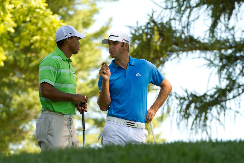NEWTOWN SQUARE, PA - JULY 2: Tiger Woods and Dustin Johnson during the second round of the AT&T National Classic at Aronimink Golf Club on July 2, 2010 in Newtown Square, Pennsylvania. (Photo by Darren Carroll) *** Local Caption *** Tiger Woods;Dustin Johnson