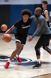 G League Ignite's MarJon Beauchamp, left, practices with the team on Tuesday, Sept. 28, 2021 in Walnut Creek, Calif.