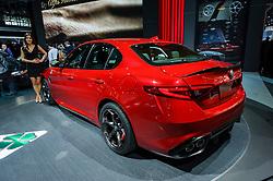 NEW YORK, USA - MARCH 23, 2016: Alfa Romeo Giulia Quadrifoglio on display during the New York International Auto Show at the Jacob Javits Center.