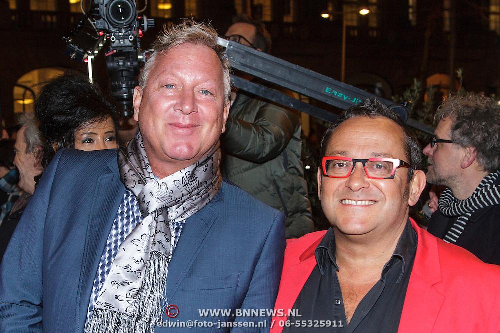 NLD/Amsterdam/20150306 - Boekenbal 2015, Tom Lanoye en partner ...............