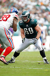 Philadelphia Eagles guard Evan Mathis #69 during the NFL game between the New York Giants and the Philadelphia Eagles. The Giants won 29-16 at Lincoln Financial Field in Philadelphia, Pennsylvania on Sunday, September 25th 2011. (Photo By Brian Garfinkel)