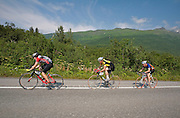 Alaska. Bike racers in the Fireweed 400 race to Valdez along the Richardson Highway, July 2009.