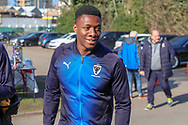 AFC Wimbledon defender Paul Kalambayi (30) arriving during the EFL Sky Bet League 1 match between AFC Wimbledon and Charlton Athletic at the Cherry Red Records Stadium, Kingston, England on 23 February 2019.