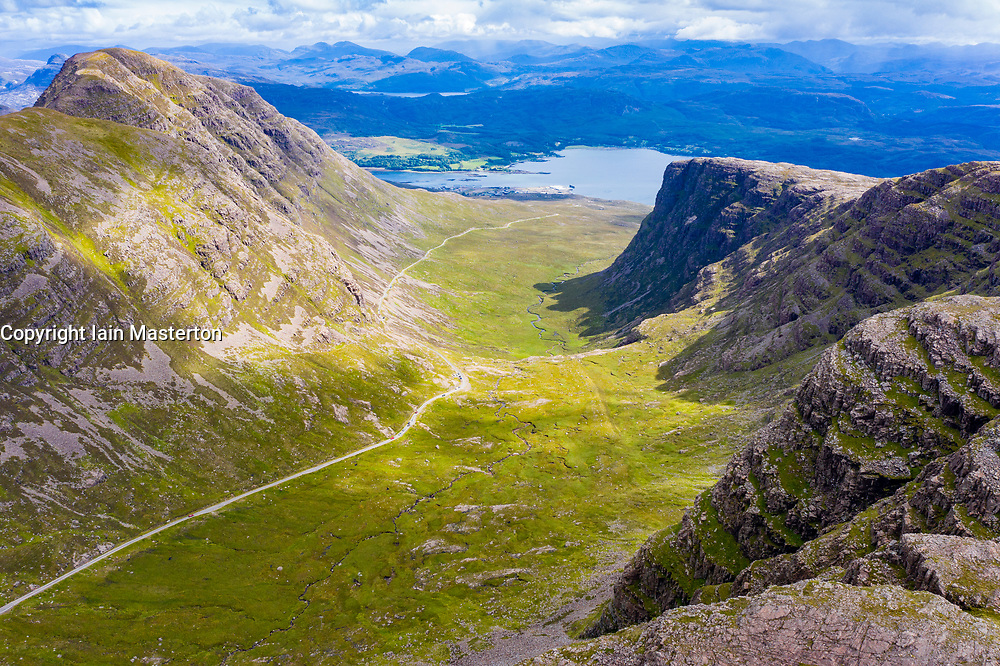 Aerial view of Bealach na Ba pass on Applecross Peninsula in Wester Ross, Scotland, UK
