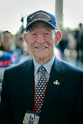 06 June 2014. The National WWII Museum, New Orleans, Lousiana. <br /> WWII veteran Sgt Fred Morgan Jr, 503rd Parachute infantry regiment is honored with the French Legion of Honor medal by French Consul General, Claude Brunet..<br /> Photo; Charlie Varley/varleypix.com
