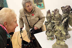 Members of visually impaired art class from Mysight charity visiting Nottingham Contemporary art gallery to see Haitian exhibition.