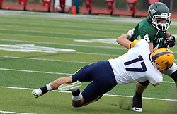 18 October 2014:  Ben Fornek makes the stop on Andrew Javorka during an NCAA division 3 football game between the Augustana Vikings and the Illinois Wesleyan Titans in Tucci Stadium on Wilder Field, Bloomington IL