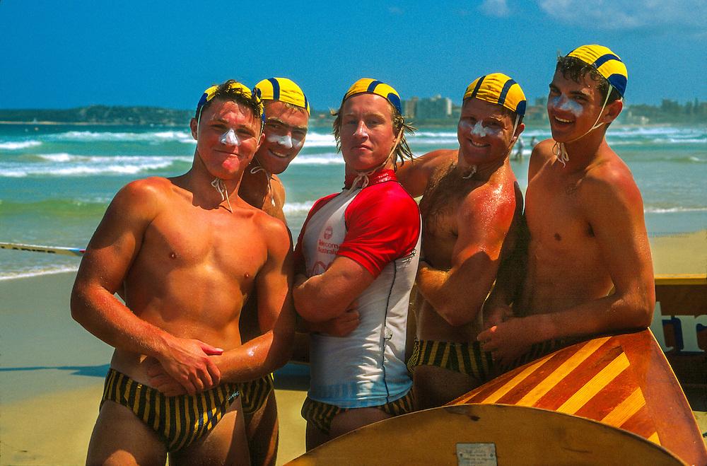 Lifeguards, Surf Boat Race, Surf Life Saving Carnival, Wonda Beach, near Sydney, New South Wales, Australia