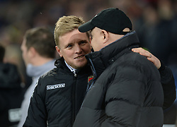 Cardiff City Manager, Russell Slade talks with Bournemouth Manager, Eddie Howe prior to kick off. - Photo mandatory by-line: Alex James/JMP - Mobile: 07966 386802 - 17/03/2015 - SPORT - Football - Cardiff - Cardiff City Stadium - Cardiff City v AFC Bournemouth - Sky Bet Championship