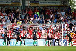 Goal, Stuart Dallas of Brentford scores, Brentford 2-0 Stoke City - Mandatory by-line: Jason Brown/JMP - Mobile 07966 386802 25/07/2015 - SPORT - FOOTBALL - Brentford, Griffin Park - Brentford v Stoke City - Pre-Season Friendly
