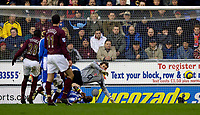 Photo: Jed Wee.<br />Wigan Athletic v Arsenal. The Barclays Premiership.<br />19/11/2005.<br />Wigan's Henri Camara scores their first goal.