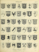 Common Charges, Heraldry is a discipline relating to the design, display and study of armorial bearings (known as armory), as well as related disciplines, such as vexillology, together with the study of ceremony, rank and pedigree. Armory, the best-known branch of heraldry, concerns the design and transmission of the heraldic achievement. The achievement, or armorial bearings usually includes a coat of arms on a shield, helmet and crest, together with any accompanying devices, such as supporters, badges, heraldic banners and mottoes. Copperplate engraving From the Encyclopaedia Londinensis or, Universal dictionary of arts, sciences, and literature; Volume IX;  Edited by Wilkes, John. Published in London in 1811