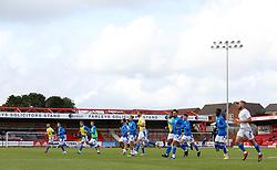 Peterborough United players warming-up at the Wham Stadium - Mandatory by-line: Joe Dent/JMP - 12/09/2020 - FOOTBALL - Wham Stadium - Accrington, England - Accrington Stanley v Peterborough United - Sky Bet League One