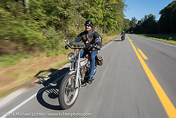 Rowdy Schenck of Texas riding his 1915 Harley-Davidson during the Rowdy Schenck of New Mexico on his 1915 Harley-Davdison during the Motorcycle Cannonball Race of the Century. Stage-3 from Morgantown, WV to Chillicothe, OH. USA. Monday September 12, 2016. Photography ©2016 Michael Lichter.