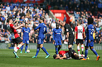 Football - 2017 / 2018 Premier League - Southampton vs. Chelsea<br /> <br /> Southampton's Pierre-Emile Hojbjerg recoils after being pushed by Alvaro Morata of Chelsea at St Mary's Stadium Southampton<br /> <br /> COLORSPORT/SHAUN BOGGUST