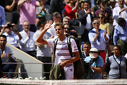 May 27, 2019 - Paris, France - Yannick Hanfmann of Germany attends the man's singles first round of the French Open tennis tournament against Rafael Nadal of Spain at Roland Garros in Paris, France on May 27, 2019. (Credit Image: © Ibrahim Ezzat/NurPhoto via ZUMA Press)