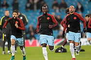 Bacary Sagna (Manchester City) warms up before the Champions League match between Manchester City and Celtic at the Etihad Stadium, Manchester, England on 6 December 2016. Photo by Mark P Doherty.