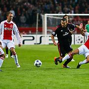 NLD/Amsterdam/20100928 - Champions Leaguewedstrijd Ajax - AC Milan, Demy de Zeeuw in duel met Gianluca Zambrotta