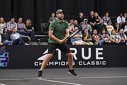October 4, 2018 - St. Louis, Missouri, U.S - ANDY RODDICK gets ready to receive the serve during the Invest Series True Champions Classic on Thursday, October 4, 2018, held at The Chaifetz Arena in St. Louis, MO (Photo credit Richard Ulreich / ZUMA Press) (Credit Image: © Richard Ulreich/ZUMA Wire)