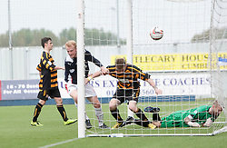 Falkirk's Mark Beck scoring their third goal.<br /> Falkirk 3 v 1 Alloa Athletic, Scottish Championship game played today at The Falkirk Stadium.<br /> © Michael Schofield.