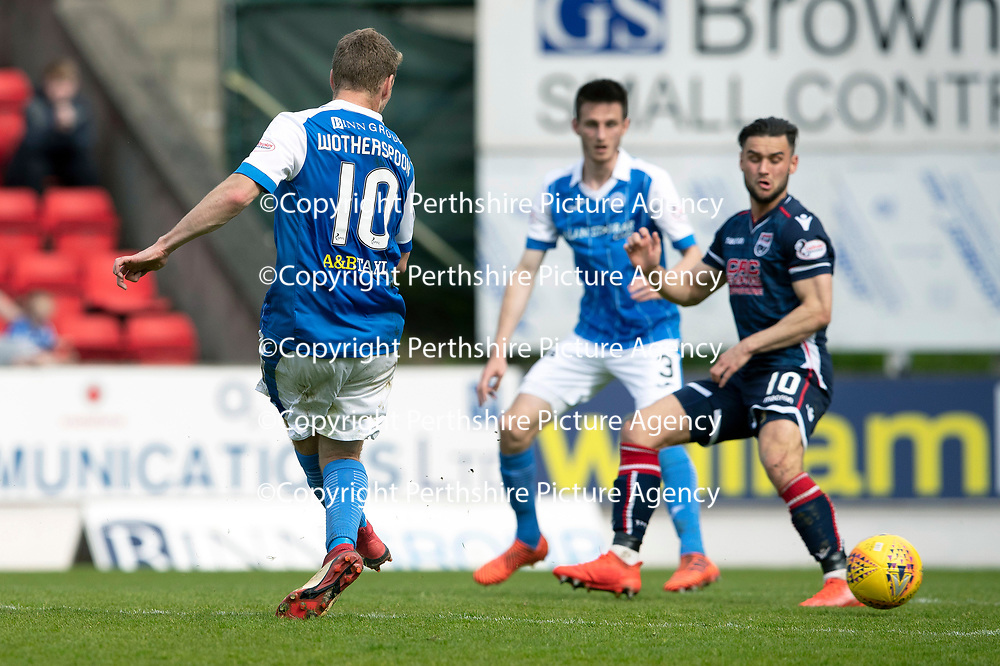 St Johnstone v Ross County…12.05.18…  McDiarmid Park    SPFL<br />David Wotherspoon scores the equaliser<br />Picture by Graeme Hart. <br />Copyright Perthshire Picture Agency<br />Tel: 01738 623350  Mobile: 07990 594431