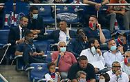 Injured Kylian Mbappe of PSG attends the French League Cup (Coupe de la Ligue) final match between Paris Saint-Germain (PSG) and Olympique Lyonnais (OL, Lyon) on July 31, 2020 at the Stade de France, in Saint-Denis, near Paris, France - Photo Juan Soliz / ProSportsImages / DPPI