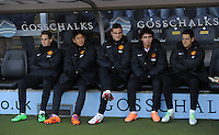 Manchester United's Shinji Kagawa on the bench alongside Adnan Januzaj (left) Nemanja Vidic, Fabio and Javier Hernandez during the Barclays Premier League match at the KC Stadium, Hull. PRESS ASSOCIATION Photo. Picture date: Thursday December 26, 2013. See PA Story SOCCER Hull. Photo credit should read: Anna Gowthorpe/PA Wire. Editorial use only. Maximum 45 images during a match. No video emulation or promotion as 'live'. No use in games, competitions, merchandise, betting or single club/player services. No use with unofficial audio, video, data, fixtures or club/league logos.