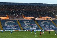 Snow. Stockport County FC 2-2 Altrincham FC. Vanarama National League. 2.1.21