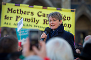 Yvette Cooper MP speaking to supporters of the Child Refugee charity Safe Passage calling on Peers in the House of Lords to back an amendment and uphold refugee family reunion on the 20th of January 2020 in Parliament Square, Westminster, London, United Kingdom. 95% of the children currently receiving legal support from the charity Safe Passage International to reunite with relatives in the UK would not be eligible for family reunion under current UK Immigration Rules.
