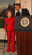 President Barack Obama and former First Lady Nancy Reagan at the signing of the Ronald Reagan Centennial Commission Act in the Diplomatic Reception Room of the White House on June 2, 2009 Photograph by Dennis Brack