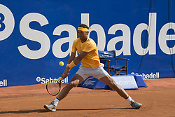 April 29, 2018 - Barcelona, Barcelona, Spain - RAFAEL NADAL reaches for the ball during the final against STEFANOS TSITSIPAS in the Barcelona Open Banc Sabadell 2018. RAFAEL NADAL won the match 6-2 6-1. This was RAFAEL NADAL's 11th victory at the tournament. (Credit Image: © Patricia Rodrigues/via ZUMA Wire via ZUMA Wire)