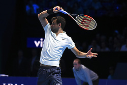 November 18, 2017 - London, England, United Kingdom - Grigor Dimitrov of Bulgaria plays a forehand in his semi final match against Jack Sock of the United States the Nitto ATP World Tour Finals at O2 Arena on November 18, 2017 in London, England. (Credit Image: © Alberto Pezzali/NurPhoto via ZUMA Press)