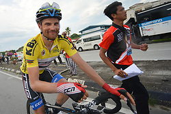 March 23, 2018 - Tanjung Malim, Malaysia - Happy 'Yellow Jersey' Artem Ovechkin from Terengganu Team, at the end of the sixth stage, the 108.5km from Tapah to Tanjung Malim, of the 2018 Le Tour de Langkawi. .On Friday, March 23, 2018, in Tanjung Malim, Malaysia. (Credit Image: © Artur Widak/NurPhoto via ZUMA Press)