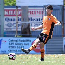 BRISBANE, AUSTRALIA - JANUARY 8: Cameron Crestani of the Roar passes the ball during the round 8 Foxtel National Youth League match between the Brisbane Roar and Perth Glory at AJ Kelly Field on January 8, 2017 in Brisbane, Australia. (Photo by Patrick Kearney/Brisbane Roar)