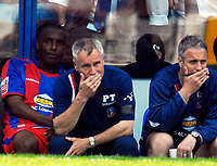 Photo: Alan Crowhurst.<br />Crystal Palace v Derby County. Coca Cola Championship. 29/04/2007. Palace manager Peter Taylor (C) looks worried.