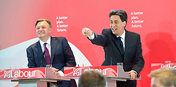 Ed Miliband <br /> leader of the Labour Party <br /> speech at RIBA Royal Institute of British Architecture, London, Great Britain <br /> 29th April 2015 <br /> General Election Campaign 2015 <br /> <br /> <br /> Ed Miliband with Ed Balls<br /> <br /> <br /> Photograph by Elliott Franks <br /> Image licensed to Elliott Franks Photography Services