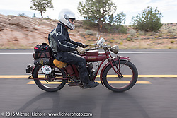 Doug Jones riding his 1914 Indian Model 260 Standard during the Motorcycle Cannonball Race of the Century. Stage-12 ride from Page, AZ to Williams, AZ. USA. Thursday September 22, 2016. Photography ©2016 Michael Lichter.