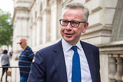 London, UK. 18 June, 2019. Michael Gove MP, Secretary of State for Environment, Food and Rural Affairs, is seen in Whitehall following a Cabinet meeting at 10 Downing Street