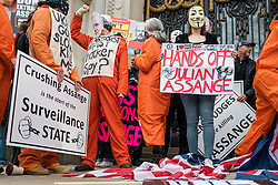© Licensed to London News Pictures. 22/02/2020. London, UK. Supporters of Wikileaks Founder Julian Assange protest outside Australia House in central London against his extradition to the United States to face espionage charges. The first phase of Assange's extradition hearing will begin on 24 February in London. Photo credit: Rob Pinney/LNP