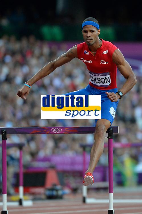 LONDON OLYMPIC GAMES 2012 - OLYMPIC STADIUM , LONDON (ENG) - 04/08/2012 - PHOTO : JULIEN CROSNIER / KMSP / DPPI<br /> ATHLETICS - MEN'S 400M HURDLES - JAVIER CULSON (PUR)