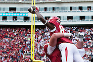 FAYETTEVILLE, AR - OCTOBER 24:  Dominique Reed #87 of the Arkansas Razorbacks celebrates after scoring a touchdown in the first half of a game against the Arkansas Razorbacks at Razorback Stadium Stadium on October 24, 2015 in Fayetteville, Arkansas.  (Photo by Wesley Hitt/Getty Images) *** Local Caption *** Dominique Reed