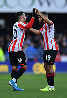 Football - 2019 / 2020 Sky Bet (EFL) Championship - Brentford vs. Queens Park Rangers<br /> <br /> Brentford's Said Benrahma celebrates scoring the opening goal with Bryan Mbeumo, at Griffin Park.<br /> <br /> COLORSPORT/ASHLEY WESTERN
