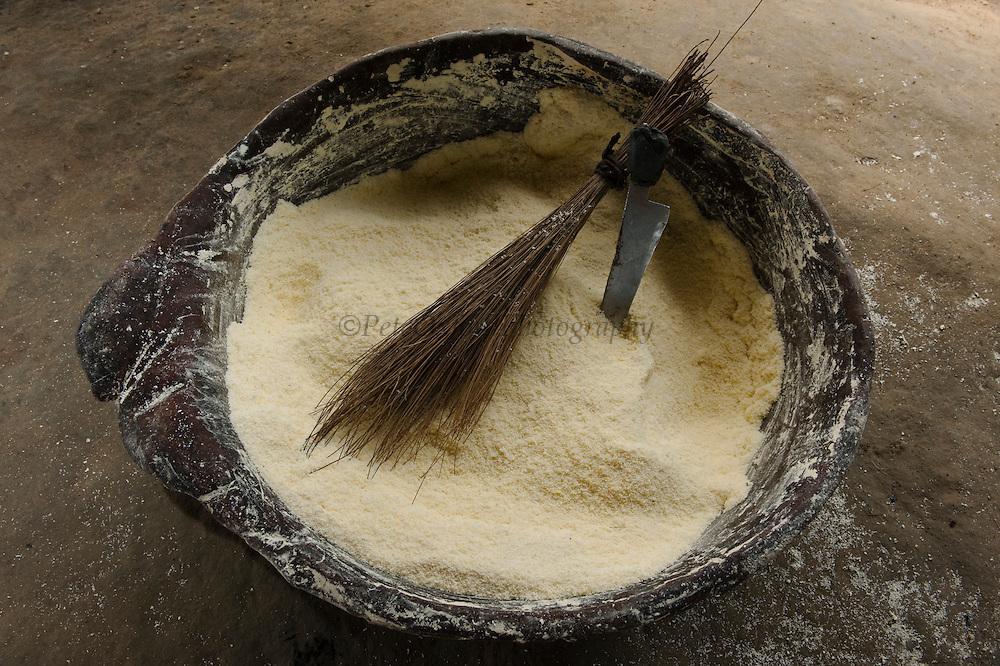 Cassava Flour in Balata Bowl<br /> Katoka<br /> Rupununi<br /> GUYANA<br /> South America